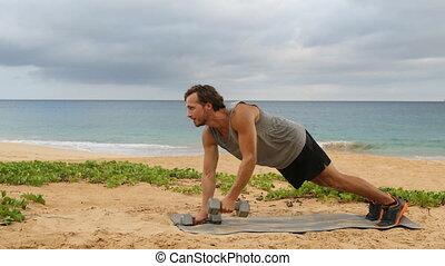 Dumbbell Plank Row - fitness man doing Alternating Renegade ...
