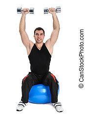 Dumbbell Shoulder Press on stability ball