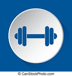 dumbbell - simple blue icon on white button