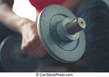 Dumbbell, suporte, mulher,  closeup