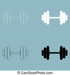 Dumbbell the black and white color icon .