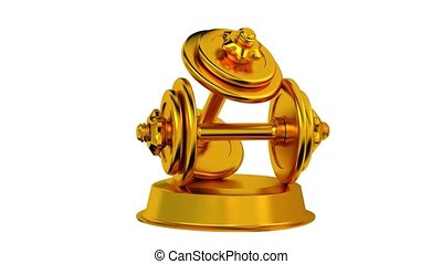 Dumbbell trophy in Gold Turning with white background