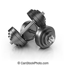 dumbbell weights isolated on white 3d illustration