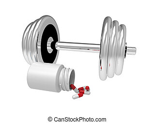Dumbbell with vial of pills, 3D