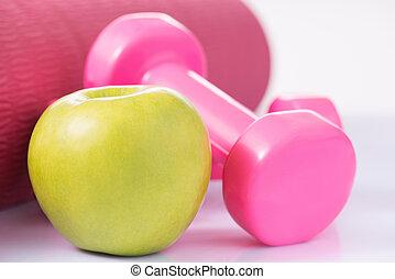 dumbbells, à, pomme, et, yoga, mat.