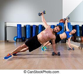 dumbbells, 俯臥撐, 夫婦, 在, 健身, 體操