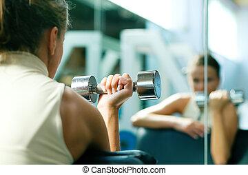 dumbbells, 訓練, 鏡子