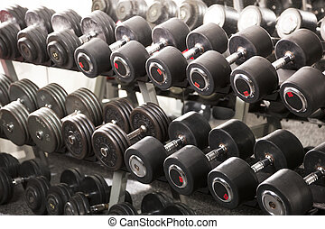 A rack of dumbbells in a gym.