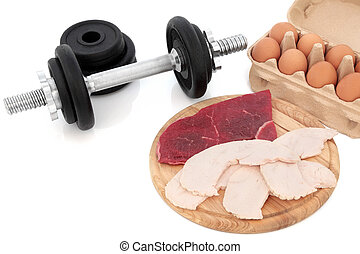 Dumbbells and Body Building Food