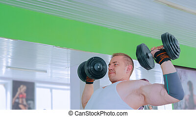 dumbbells, atlético, ginásio, jovem, levantamento, homem