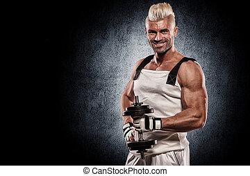 dumbbells, atlético, joven, muscular, brillante, plano de fondo, hombre