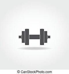 Dumbbells - Black realistic dumbbell icon. Gym equipment.