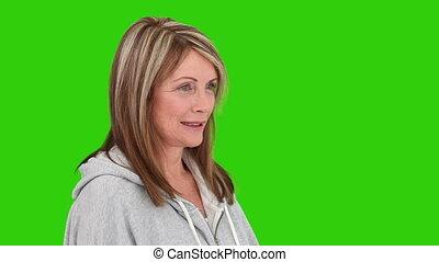 dumbbells, emerytowany, kobieta, trening