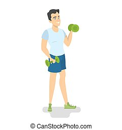 dumbbells, esercizio, uomo