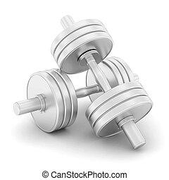 dumbbells fitness on a white background