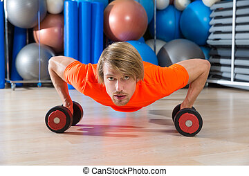 dumbbells, ginásio, push-up, pushup, loura, homem