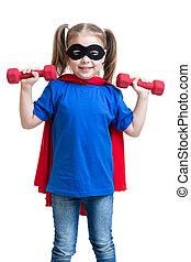 dumbbells, gry, podwiezienia, superhero, dziewczyna, koźlę
