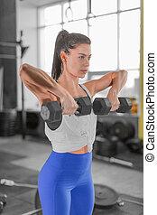 dumbbells., gym., il portare, abbigliamento sportivo, femmina, foto, muscolare, sportivo, donna, esercizi