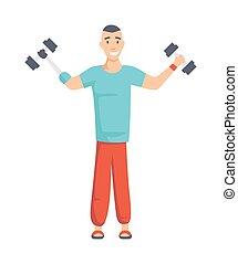 dumbbells., herstel, karakter, man, actief, illustratie, amputee, invalide, vector, spotprent, atleet, liften, prothese, exercise., training., rehabilitatie, geamputeerd, lid, plat, arm