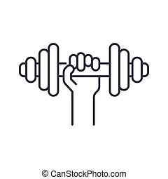 Dumbbells icon, linear isolated illustration, thin line vector, web design sign, outline concept symbol with editable stroke on white background.