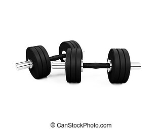 dumbbells isolated view - isolated dumbbells on white ...