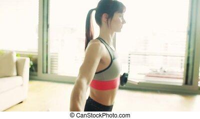 dumbbells, jeune femme, fitness, home., exercice