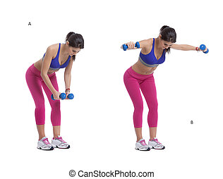Dumbbells lateral raise - Step by step instructions: bend...
