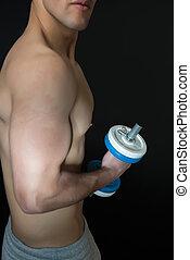 dumbbells, muscular, hombre