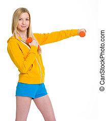dumbbells, nastolatek, zrobienie, dziewczyna, ruch, szczęśliwy