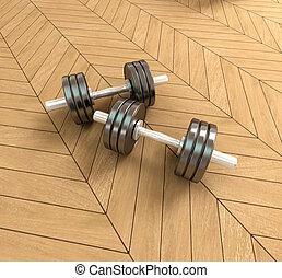 Dumbbells on a parquet floor