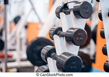 Dumbbells on a rack in a gym
