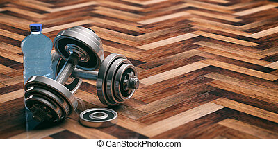 Dumbbells on a wooden floor. 3d illustration