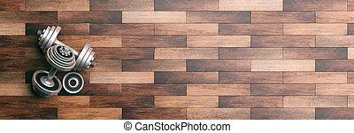 Dumbbells on a wooden floor. 3d illustration