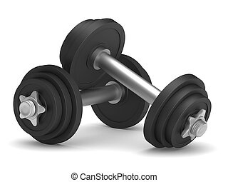 dumbbells on white background. Isolated 3D illustration