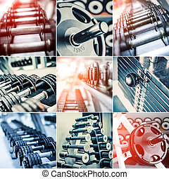 Dumbbells - photo collage of different dumbbells