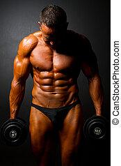Dumbbells, pretas,  Muscular, homem