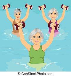 dumbbells, sala gimnastyczna, aqua, wykonuje, zrobienie, starsi kobiety, kałuża, pływacki