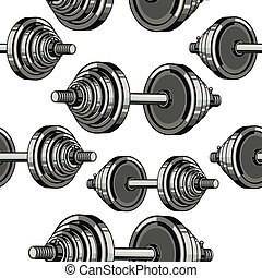 Dumbbells Seamless Pattern. Vector