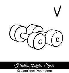Dumbbells sketch vector icon. A call to play sports for health