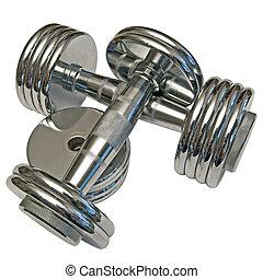 dumbbells - pair of dumbbells made of chromed metal isolated...