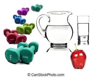 dumbbells, style de vie, pomme, sain, -, cruche, arrosez verre