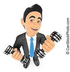 dumbbells, superación, dos, fitness., hombre de negocios, ejercitar, 3d