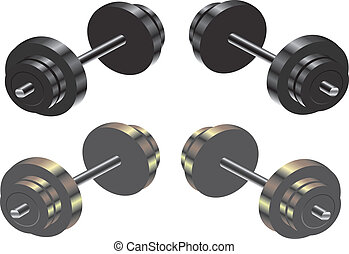 Dumbbells - Two colour tones of weights. EPS 10 file ...