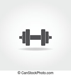 Dumbbells - Black realistic dumbbell icon. Gym equipment.