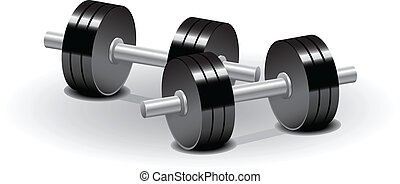 Dumbbells - Vector illustration set of dumbbells over white...