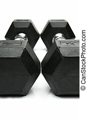Weight lifting dumbbells isolated against a white background