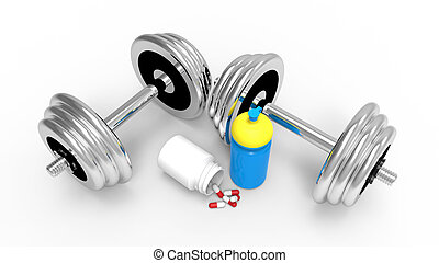 Dumbbells with vial of pills