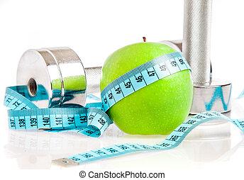 dumbbells, y, apple., un, sano, estilo de vida