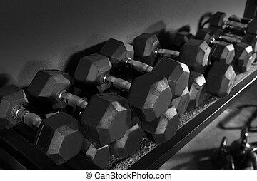 dumbbells, y, kettlebells, cargue instrucción, gimnasio