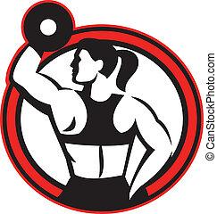 dumbell, hembra, condición física, círculo, lado, elevación